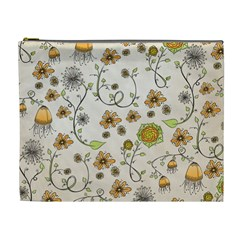 Yellow Whimsical Flowers  Cosmetic Bag (xl) by Zandiepants