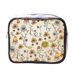 Yellow Whimsical Flowers  Mini Travel Toiletry Bag (one Side) by Zandiepants