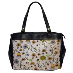 Yellow Whimsical Flowers  Oversize Office Handbag (one Side) by Zandiepants