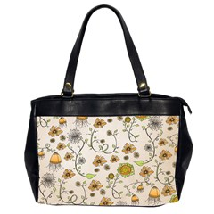 Yellow Whimsical Flowers  Oversize Office Handbag (two Sides) by Zandiepants