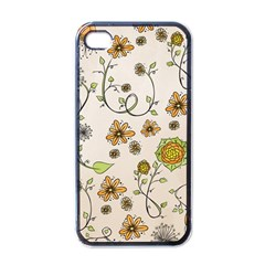 Yellow Whimsical Flowers  Apple Iphone 4 Case (black) by Zandiepants