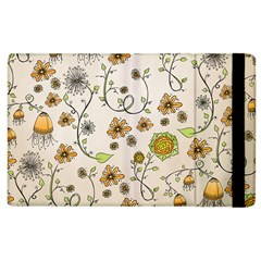 Yellow Whimsical Flowers  Apple Ipad 3/4 Flip Case by Zandiepants