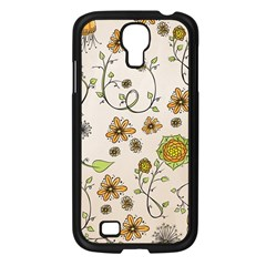 Yellow Whimsical Flowers  Samsung Galaxy S4 I9500/ I9505 Case (black) by Zandiepants