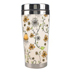 Yellow Whimsical Flowers  Stainless Steel Travel Tumbler