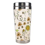 Yellow Whimsical Flowers  Stainless Steel Travel Tumbler Center