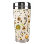 Yellow Whimsical Flowers  Stainless Steel Travel Tumbler Right