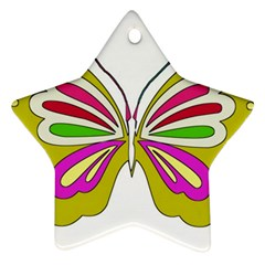 Color Butterfly  Star Ornament (two Sides) by Colorfulart23