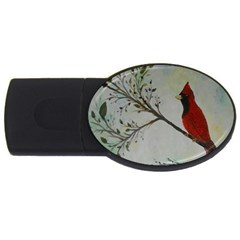Sweet Red Cardinal 4gb Usb Flash Drive (oval) by rokinronda