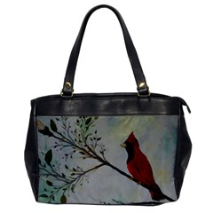 Sweet Red Cardinal Oversize Office Handbag (one Side) by rokinronda