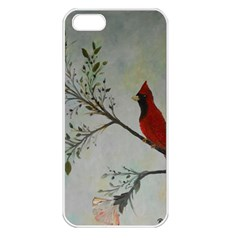 Sweet Red Cardinal Apple Iphone 5 Seamless Case (white) by rokinronda
