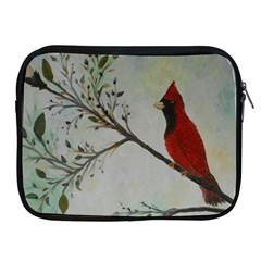 Sweet Red Cardinal Apple Ipad Zippered Sleeve by rokinronda