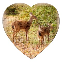 Deer In Nature Jigsaw Puzzle (heart) by uniquedesignsbycassie