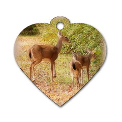 Deer In Nature Dog Tag Heart (two Sided) by uniquedesignsbycassie