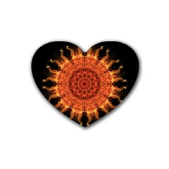 Flaming Sun Drink Coasters (heart) by Zandiepants
