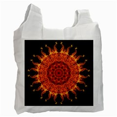 Flaming Sun White Reusable Bag (two Sides) by Zandiepants