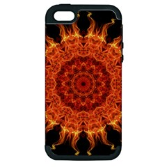 Flaming Sun Apple Iphone 5 Hardshell Case (pc+silicone) by Zandiepants