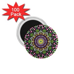 Psychedelic Leaves Mandala 1 75  Button Magnet (100 Pack) by Zandiepants