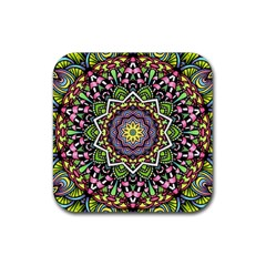 Psychedelic Leaves Mandala Drink Coaster (square) by Zandiepants