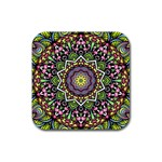 Psychedelic Leaves Mandala Drink Coaster (Square) Front
