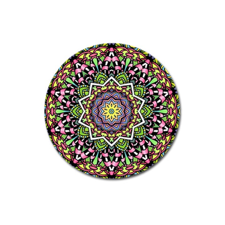 Psychedelic Leaves Mandala Magnet 3  (Round)
