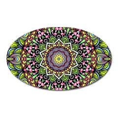 Psychedelic Leaves Mandala Magnet (oval) by Zandiepants