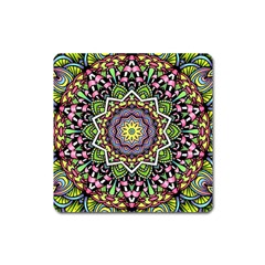 Psychedelic Leaves Mandala Magnet (square) by Zandiepants