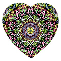 Psychedelic Leaves Mandala Jigsaw Puzzle (heart) by Zandiepants