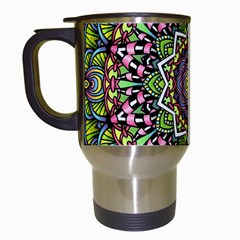 Psychedelic Leaves Mandala Travel Mug (white) by Zandiepants