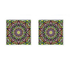 Psychedelic Leaves Mandala Cufflinks (square) by Zandiepants