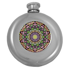 Psychedelic Leaves Mandala Hip Flask (round) by Zandiepants