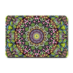 Psychedelic Leaves Mandala Small Door Mat by Zandiepants