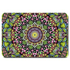 Psychedelic Leaves Mandala Large Door Mat by Zandiepants