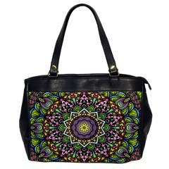 Psychedelic Leaves Mandala Oversize Office Handbag (one Side) by Zandiepants