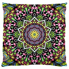 Psychedelic Leaves Mandala Large Cushion Case (two Sided)  by Zandiepants
