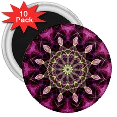 Purple Flower 3  Button Magnet (10 Pack) by Zandiepants