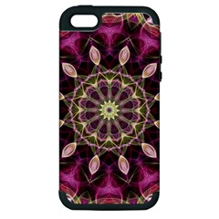 Purple Flower Apple Iphone 5 Hardshell Case (pc+silicone) by Zandiepants