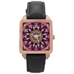 Purple Flower Rose Gold Leather Watch  by Zandiepants
