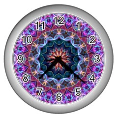 Purple Lotus Wall Clock (silver) by Zandiepants