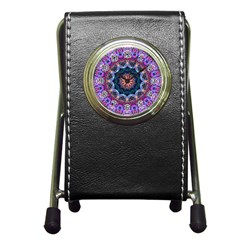 Purple Lotus Stationery Holder Clock by Zandiepants