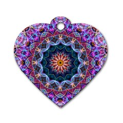 Purple Lotus Dog Tag Heart (one Sided)  by Zandiepants