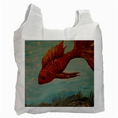Gold Fish White Reusable Bag (two Sides) by rokinronda