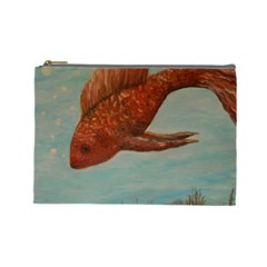 Gold Fish Cosmetic Bag (large) by rokinronda