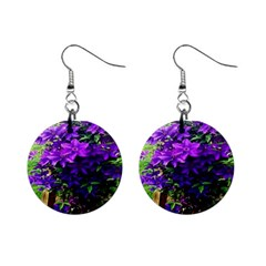 Purple Flowers Mini Button Earrings by Rbrendes