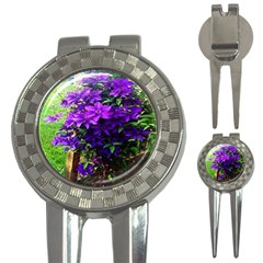 Purple Flowers Golf Pitchfork & Ball Marker