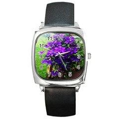 Purple Flowers Square Leather Watch by Rbrendes
