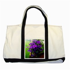 Purple Flowers Two Toned Tote Bag