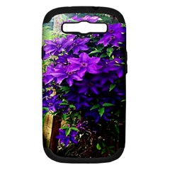 Purple Flowers Samsung Galaxy S Iii Hardshell Case (pc+silicone) by Rbrendes