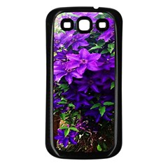Purple Flowers Samsung Galaxy S3 Back Case (black) by Rbrendes