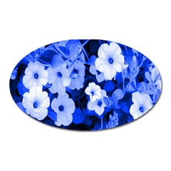 Blue Flowers Magnet (oval)