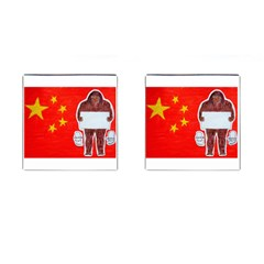 Yeh Ren Text On Chinese Flag  Cufflinks (square) by creationtruth